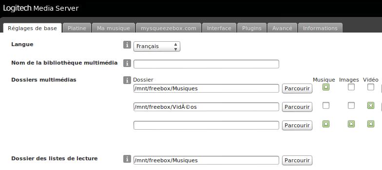 Configuration de la bibliothèque multimédia sur le serveur LMS