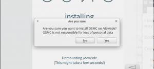 Installation OSMC : choix du disque. toujours temps de s'arrêter