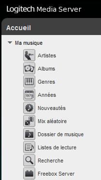 Le Freebox Server apparait dans la Bibliothèque musicale Squeezebox