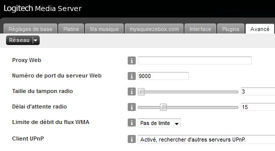 Réglage Squeezebox Server pour être client uPnP