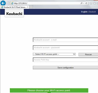 Page d'acceuil de configuration Koubachi